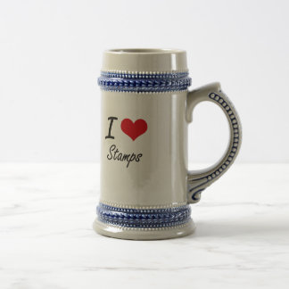 I love Stamps Beer Steins