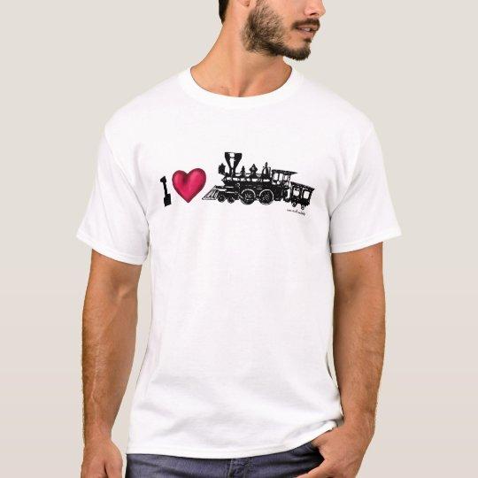 I love steam engine locomotive graphic art t-shirt