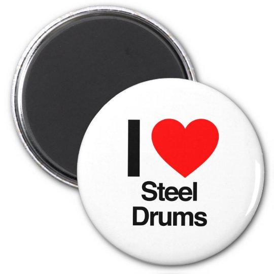 i love steel drums 6 cm round magnet