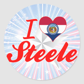 I Love Steele Missouri Round Sticker