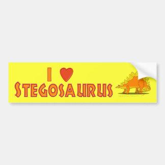 I Love Stegosaurus Cute Cartoon Dinosaur Lovers Bumper Sticker