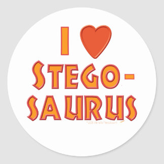 I Love Stegosaurus Dinosaur Lovers Round Stickers