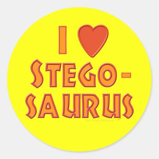 I Love Stegosaurus Dinosaur Lovers Round Sticker
