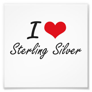 I love Sterling Silver Photographic Print