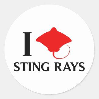 I Love Sting Rays Round Stickers