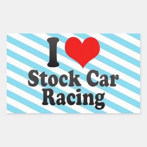 I love Stock Car Racing Rectangular Stickers