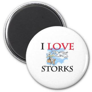 I Love Storks 6 Cm Round Magnet
