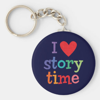 I Love Storytime T-Shirts & Gifts Basic Round Button Key Ring