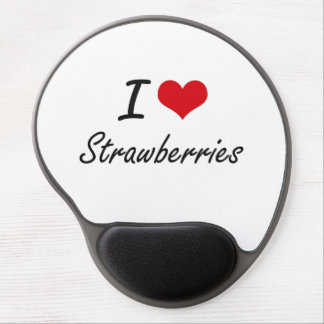 I Love Strawberries artistic design Gel Mouse Pad