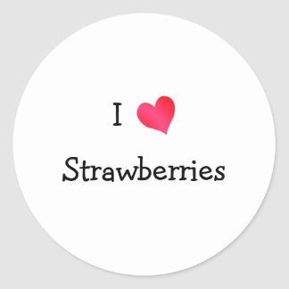 I Love Strawberries Classic Round Sticker