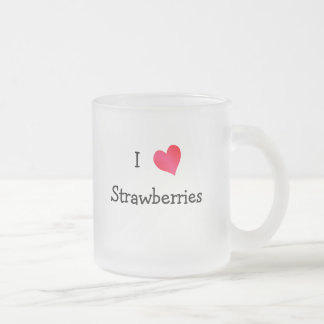 I Love Strawberries Frosted Glass Coffee Mug