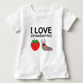 I Love Strawberries Illustration Baby Bodysuit