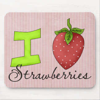 I Love Strawberries Mouse Pads