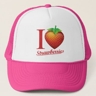 I Love Strawberry Trucker Hat