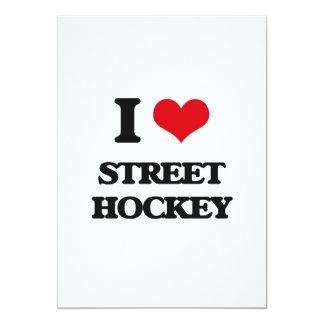 """I love Street Hockey 5"""" X 7"""" Invitation Card"""