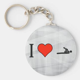 I Love Stretching With Flexed Leg To Chest Basic Round Button Key Ring
