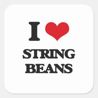 I love String Beans Square Sticker
