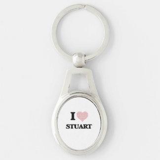 I Love Stuart Silver-Colored Oval Key Ring