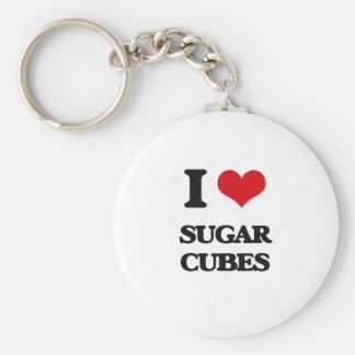 I love Sugar Cubes Basic Round Button Keychain