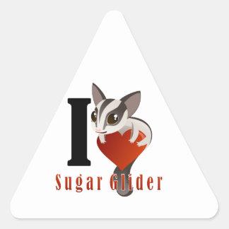 I Love Sugar Glider Triangle Stickers