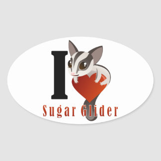 I Love Sugar Glider Stickers