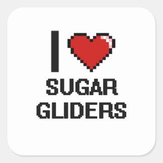 I love Sugar Gliders Digital Design Square Sticker