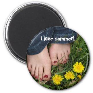 I love summer! 6 cm round magnet