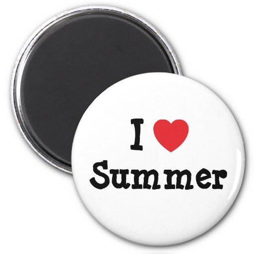 I love Summer heart T-Shirt 6 Cm Round Magnet