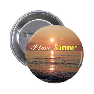 I love Summer Sunset on the Beach Photo Buttons