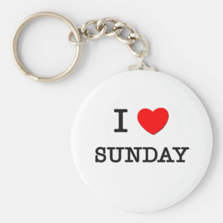 I Love Sunday Basic Round Button Key Ring