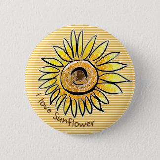 I love Sunflower 6 Cm Round Badge