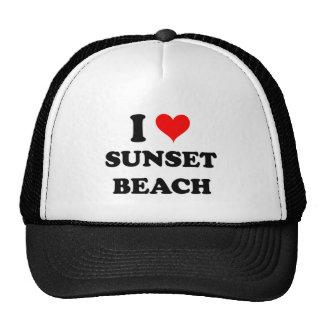 I Love Sunset Beach California Mesh Hats