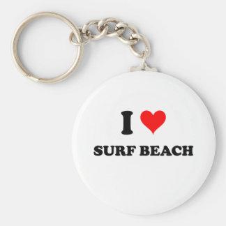I Love Surf Beach California Basic Round Button Key Ring