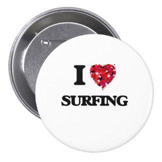 I Love Surfing 7.5 Cm Round Badge