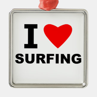 I Love Surfing Christmas Ornament