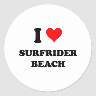 I Love Surfrider Beach California Round Sticker