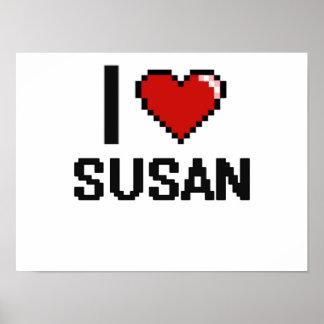 I Love Susan Digital Retro Design Poster
