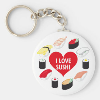 I Love Sushi Basic Round Button Key Ring