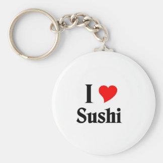 I love sushi basic round button key ring