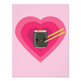 I Love Sushi Kawaii Sushi Roll Card