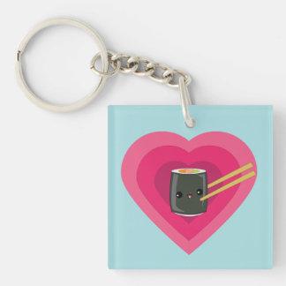 I Love Sushi Kawaii Sushi Roll keychain