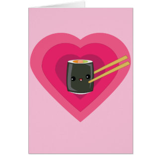 I Love Sushi Kawaii Sushi Roll Note Card