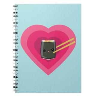 I Love Sushi Kawaii Sushi Roll Notebooks