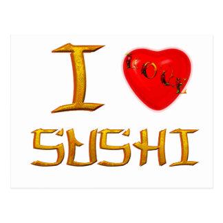 I love sushi postcards