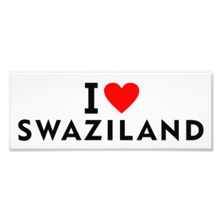 I love Swaziland country like heart travel tourism Photo Print