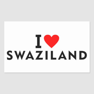 I love Swaziland country like heart travel tourism Rectangular Sticker