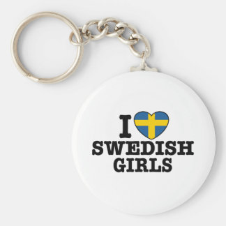 I Love Swedish Girls Basic Round Button Key Ring