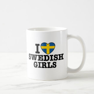 I Love Swedish Girls Basic White Mug