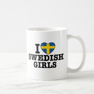 I Love Swedish Girls Basic White Mug
