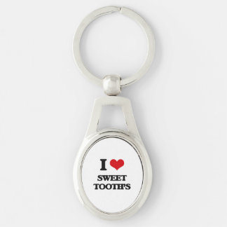 I love Sweet Tooth'S Silver-Colored Oval Keychain